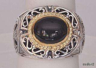 Mens Sterling Silver 18K Gold Black Onyx Oval Ring Size 11 1/2