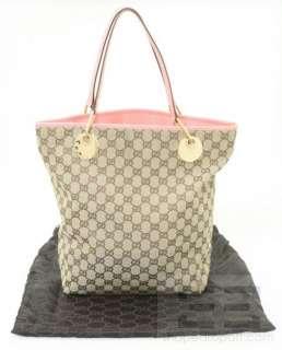 Gucci Brown Monogram Canvas & Pink Leather Trim Tote Bag