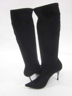 CASADEI Black Suede Knee High Stretch Boots 8.5