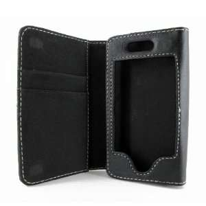 Black Leather Wallet Credit Card ID Case for iPhone 4S 4 3 3GS