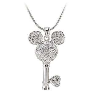 Disney Mickey Mouse Crystal & Rhinestone Key Necklace By Jersey Bling