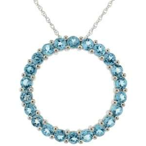 of Life Eternity Pendant, w/ Brilliant Cut Blue Topaz Stones Jewelry