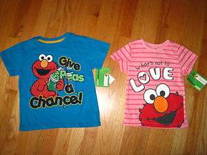 Twin boy girl Sesame Street ELMO blue pink shirts tops NWT 5T