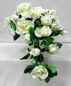 IVORY CREAM Silk Rose Wedding Cascading Bridal Bouquet