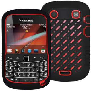 Black Red Hybrid Silicone Rubberized Cover Case for Blackberry 9900