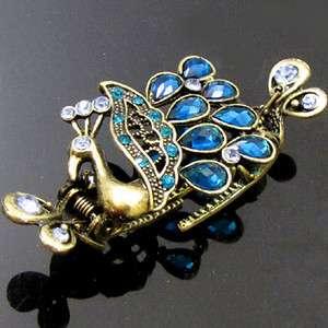 Item  1pc rhinestone antiqued peacock crab hair claw clip