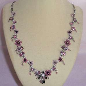 Fresh Flowers Pink Wild Flowers Swarovski Crystal Necklace NWT