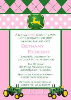 Boy Girl John Deere Inspired Baby Shower Invitation Pink Blue Yellow