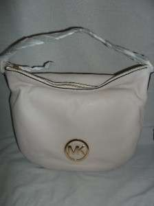 Michael Kors Leather Fulton Large Shoulder Bag Hobo Handbag Vanilla $