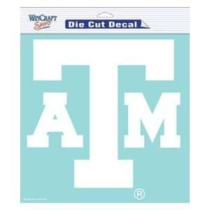 Texas A&M Aggies TAMU NCAA Die Cut Decal 8 X 8 White: Sports