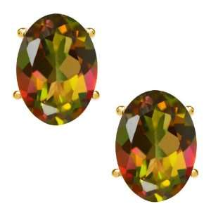 90 Ct Oval Mango Mystic Topaz 14K Yellow Gold Basket Stud Earrings