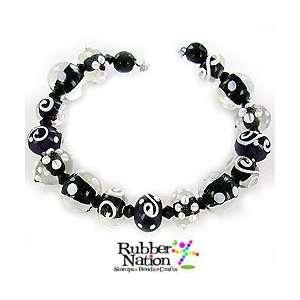 Handmade Lampwork Glass Beads Focal Set 15pc Polka Dots Swirls Black