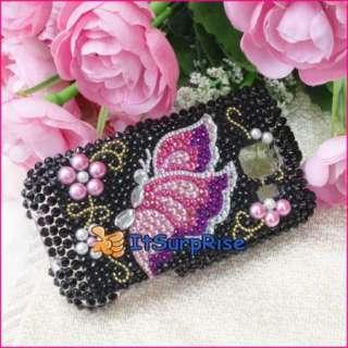 Bling Diamond Butterfly Full Hard Case Cover For LG Optimus S LS670