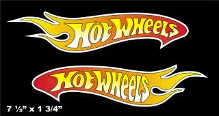 Hot Wheels FLAME Logo Vinyl Decal Window Sticker Set Of 2
