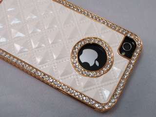 White Gold Luxury Rhinestone Diamond Bling Back Case Cover for iPhone