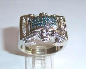 14K MENS BLUE WHITE DIAMOND RING