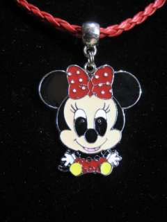 MINNIE MICKEY MOUSE LEATHER NECKLACE PENDANT CHARMS PIN