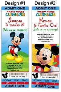 Mickey Mouse Clubhouse TICKET Style Party Invitations