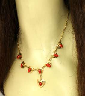 VINTAGE 18K GOLD & RED CORAL HEART LINK LADIES NECKLACE