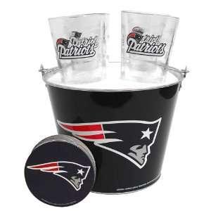 New England Patriots NFL Metal Bucket, Satin Etch Pint Glass & Coaster