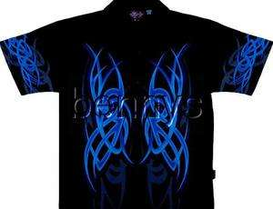 NEW Blue Tribal Flames Biker Shirt, Dragonfly, XXL