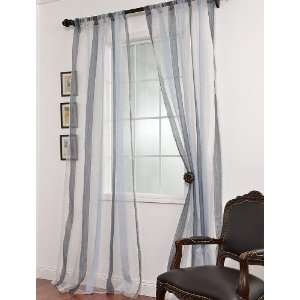 Blue Striped Linen & Voile Weaved Sheer Curtains: Home & Kitchen