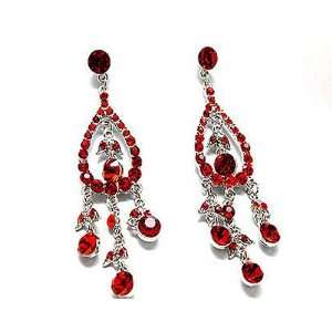 Deep Red Rhinestone Chandelier Earrings in a Silver Rhodium Setting