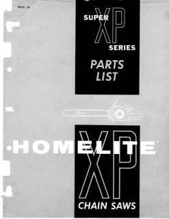HOMELITE Super XP,1020,1020A,1130 CHAIN SAW PARTS LiST