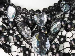 Net Mesh Gothic Victorian Heart Crystal Faux Pearl Necklace Bib