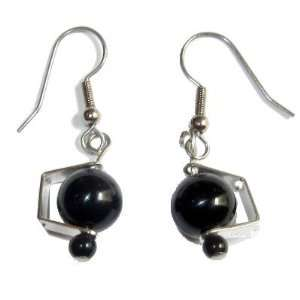 Obsidian Earrings 01 Clamp Rainbow Black Silver Metal Crystal Stone 1