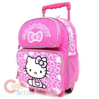 Hello Kitty School Roller Backpack Rolling Bag Medium Pink Bows 2