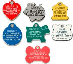 Plastic Acrylic Pet Dog Cat ID Tags 7 Shapes & 6 Colors