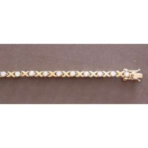 Bracelet Gold Tone X Links & Clear Round Crystals