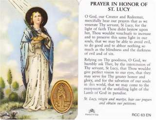 Prayer In Honor of St. Lucy   Laminated Wallet Size Prayer Card
