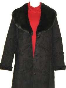 189 COLDWATER CREEK BLACK WOMENS WINTER FAUX FUR COAT LONG JACKET
