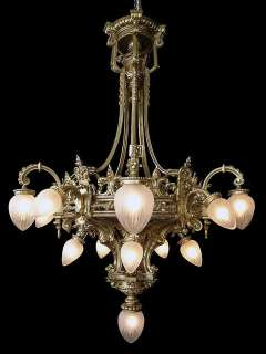 6057 19th Century French Solid Bronze Chandelier