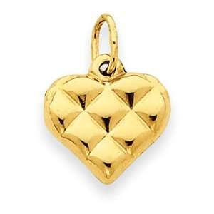 Genuine IceCarats Designer Jewelry Gift 14K Quilted Puffed Heart Charm