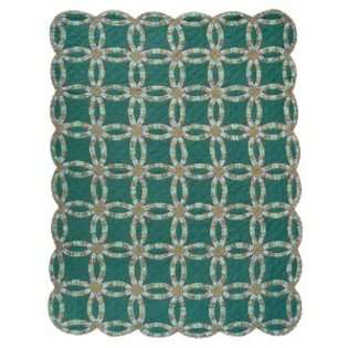 Patch Magic Green Double Wedding Ring Quilt Luxury, King, 120 Inch by