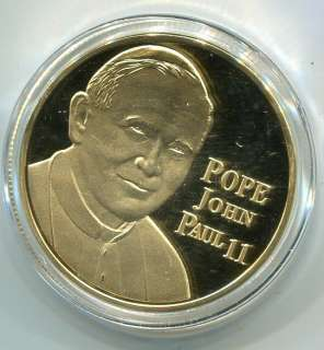 Pope John Paul II   24K Gold Silver Commemorative Good Luck Coin