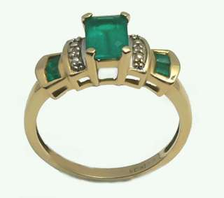 COLOMBIAN EMERALD & DIAMOND RING 14K GOLD .62 CTS