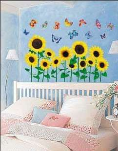 sunflower Art Deco nursery decal mural Wall Paper Sticker kids