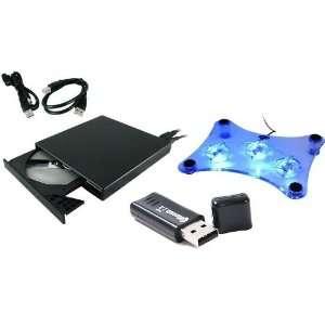 Notebook/Laptop USB Kit 24x Slim External CD Rom w/ Cooler Pad and USB