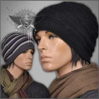 Gray Punk Stripe Men Beanie Hat Cap Open Top Double Side New