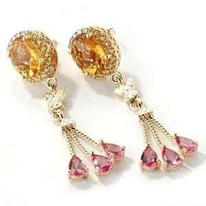 14K Gold Citrine, Pink Tourmaline & Diamond Earrings Jewelry