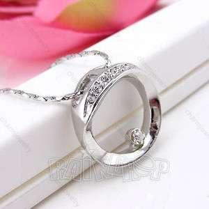 Korean Jewelry Silver Color Rhinestone Circle Pendant Necklace Best