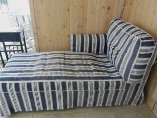 Ikea Ektorp Chaise Slipcover (with cushion covers)Navy Blue/White