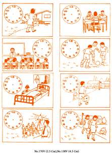 PICTURE+CLOCK EDUCATION KID STUDY FOR TIME RUBBER STAMP