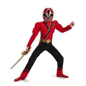 Boys Classic Muscle Red Power Ranger Samurai Costume Size Large  Toys