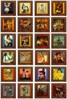 24 Diego Rivera Framed Ceramic Art Tiles Assorted