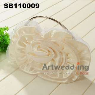 New Satin Rose Clutch Metallic Wedding Handle Handbag